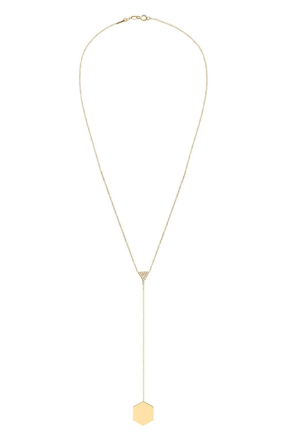 Женские колье LITO бесцветного цвета, арт. N-L-005   Фото 1 (Драгоценные камни: Бриллианты; Материал сплава: Желтое золото)
