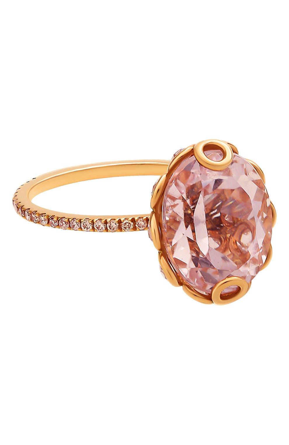 Женские кольцо LITO бесцветного цвета, арт. R-L-084   Фото 1 (Драгоценные камни: Бриллианты, Другие; Материал сплава: Розовое золото)