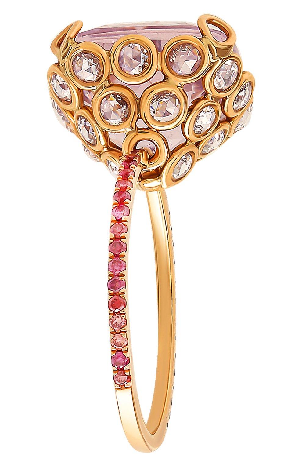 Женские кольцо LITO бесцветного цвета, арт. R-L-084   Фото 4 (Драгоценные камни: Бриллианты, Другие; Материал сплава: Розовое золото)