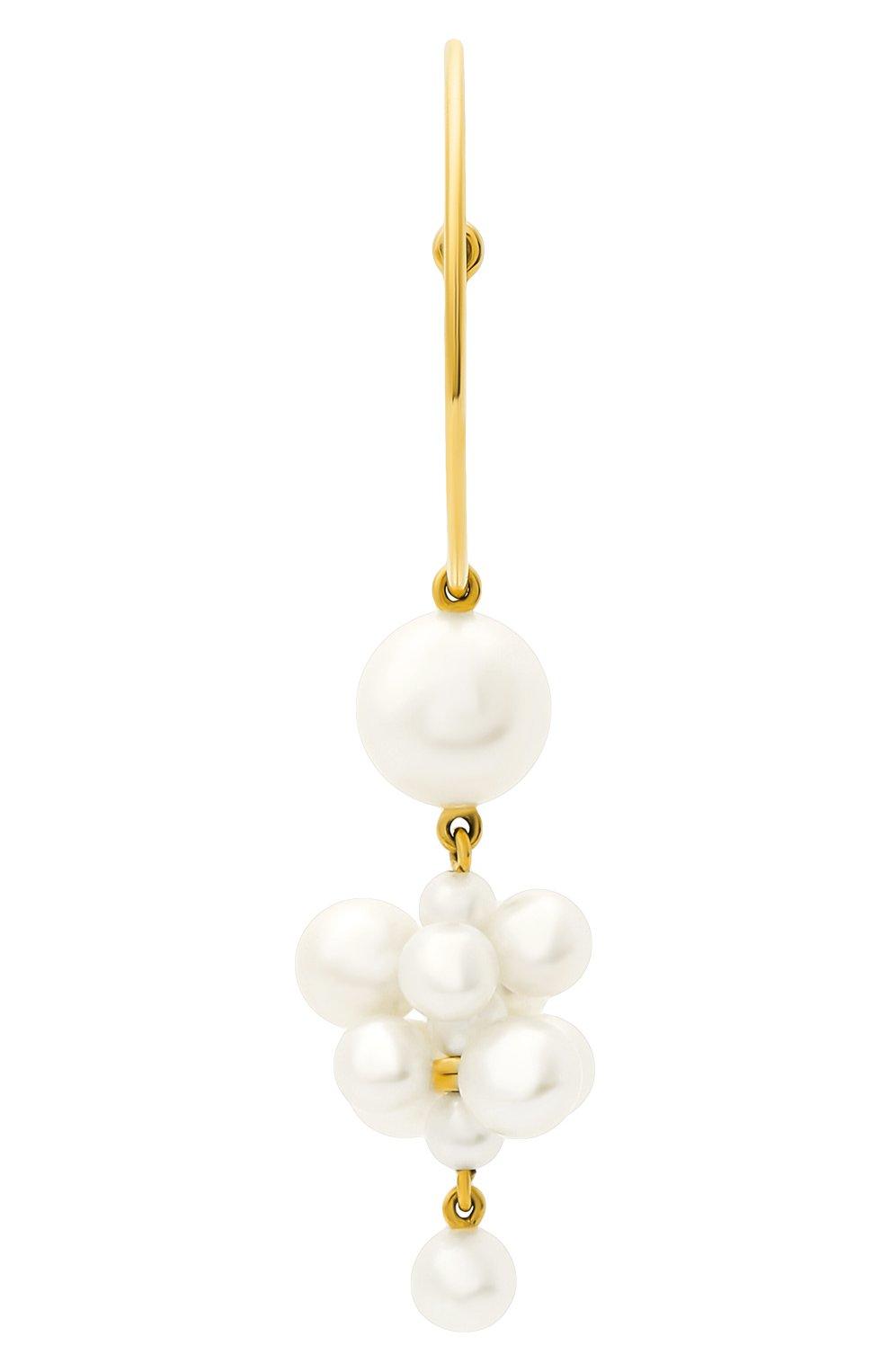 Женские серьга SOPHIE BILLE BRAHE бесцветного цвета, арт. EA30_BOH_FW | Фото 2 (Драгоценные камни: Жемчуг; Материал сплава: Желтое золото)