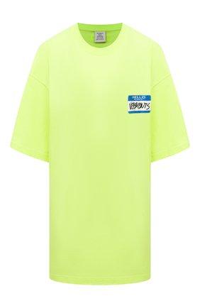 Женская хлопковая футболка VETEMENTS светло-зеленого цвета, арт. UA52TR330Y 1602/W   Фото 1