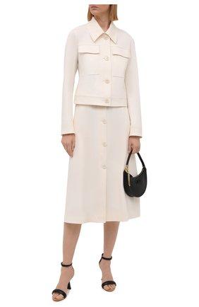 Женская хлопковая юбка BOSS кремвого цвета, арт. 50455299 | Фото 2