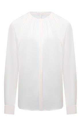 Женская шелковая блузка BOSS белого цвета, арт. 50453554 | Фото 1 (Длина (для топов): Стандартные; Материал внешний: Шелк; Принт: Без принта; Женское Кросс-КТ: Блуза-одежда; Рукава: Длинные; Стили: Романтичный)