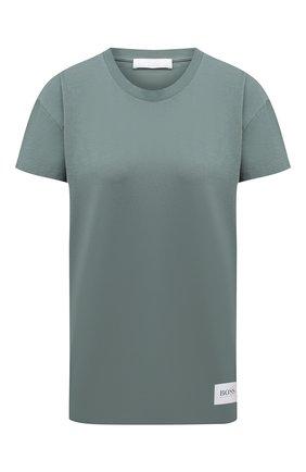 Женская хлопковая футболка BOSS зеленого цвета, арт. 50454553   Фото 1