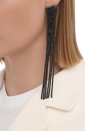 Женские серьги BRUNELLO CUCINELLI черного цвета, арт. M0RW9LS62P/M   Фото 2