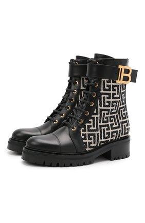 Женские комбинированные ботинки ranger romy BALMAIN черно-белого цвета, арт. WN1TC502/TJML | Фото 1 (Подошва: Платформа; Материал внутренний: Натуральная кожа; Женское Кросс-КТ: Военные ботинки; Материал внешний: Текстиль; Каблук высота: Низкий)