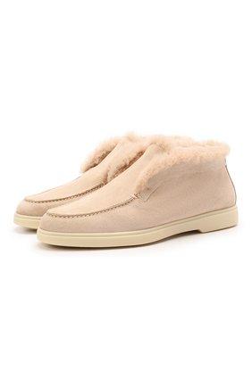 Женские замшевые ботинки SANTONI бежевого цвета, арт. WUYA58457TISAYHFE50 | Фото 1