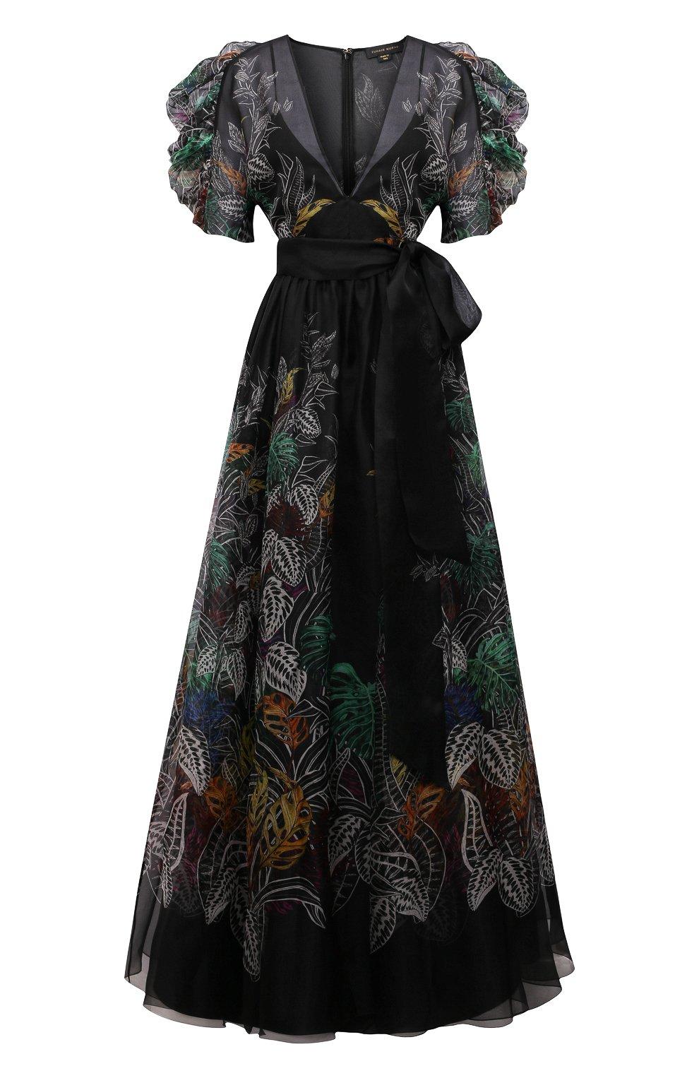 Женское шелковое платье ZUHAIR MURAD разноцветного цвета, арт. DRS21323/0RSI005   Фото 1 (Материал внешний: Шелк; Случай: Вечерний; Рукава: Короткие; Длина Ж (юбки, платья, шорты): Макси; Стили: Романтичный; Женское Кросс-КТ: Платье-одежда; Материал подклада: Купро)