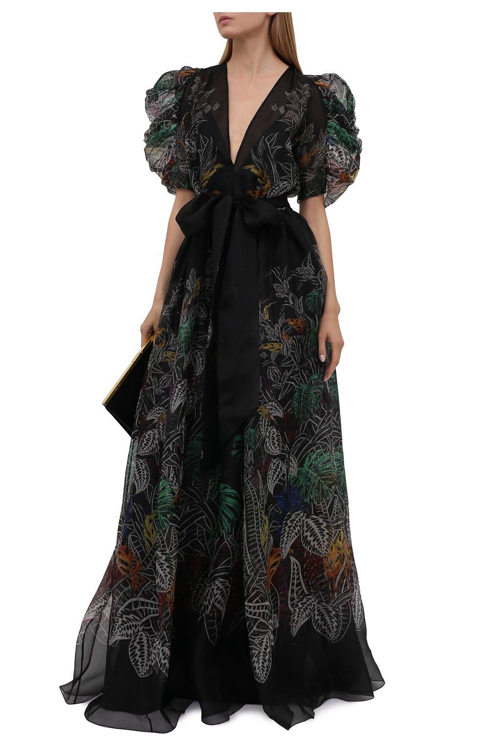 Женское шелковое платье ZUHAIR MURAD разноцветного цвета, арт. DRS21323/0RSI005   Фото 2 (Материал внешний: Шелк; Случай: Вечерний; Рукава: Короткие; Длина Ж (юбки, платья, шорты): Макси; Стили: Романтичный; Женское Кросс-КТ: Платье-одежда; Материал подклада: Купро)