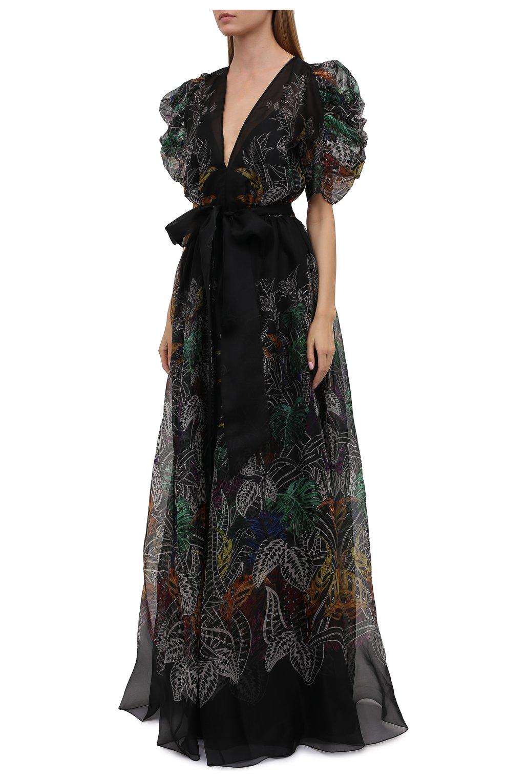 Женское шелковое платье ZUHAIR MURAD разноцветного цвета, арт. DRS21323/0RSI005   Фото 3 (Материал внешний: Шелк; Случай: Вечерний; Рукава: Короткие; Длина Ж (юбки, платья, шорты): Макси; Стили: Романтичный; Женское Кросс-КТ: Платье-одежда; Материал подклада: Купро)