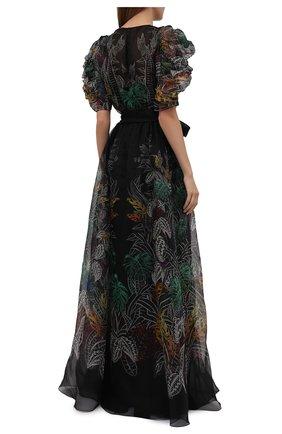 Женское шелковое платье ZUHAIR MURAD разноцветного цвета, арт. DRS21323/0RSI005   Фото 4 (Материал внешний: Шелк; Случай: Вечерний; Рукава: Короткие; Длина Ж (юбки, платья, шорты): Макси; Стили: Романтичный; Женское Кросс-КТ: Платье-одежда; Материал подклада: Купро)