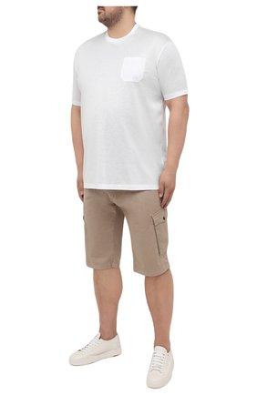 Мужская хлопковая футболка PAUL&SHARK белого цвета, арт. C0P1011/C00/3XL-6XL | Фото 2 (Рукава: Короткие; Материал внешний: Хлопок; Принт: Без принта; Длина (для топов): Удлиненные)