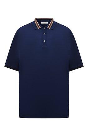 Мужское поло из хлопка и шелка CORTIGIANI темно-синего цвета, арт. 116643/0000/60-70 | Фото 1