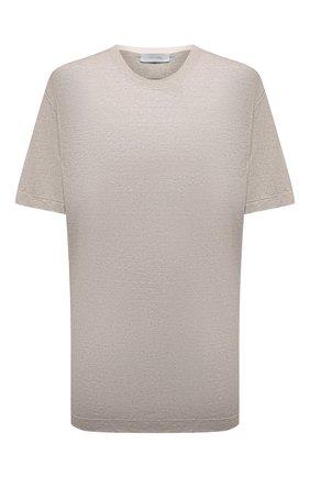 Мужская льняная футболка CORTIGIANI бежевого цвета, арт. 116660/0000/60-70 | Фото 1