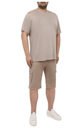 Мужская льняная футболка CORTIGIANI бежевого цвета, арт. 116660/0000/60-70 | Фото 2