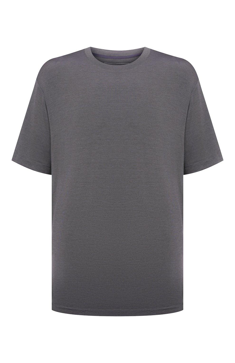 Мужская футболка из шелка и кашемира MARCO PESCAROLO темно-серого цвета, арт. JAMES/4365   Фото 1 (Big sizes: Big Sizes; Материал внешний: Шелк; Принт: Без принта; Рукава: Короткие; Длина (для топов): Стандартные)