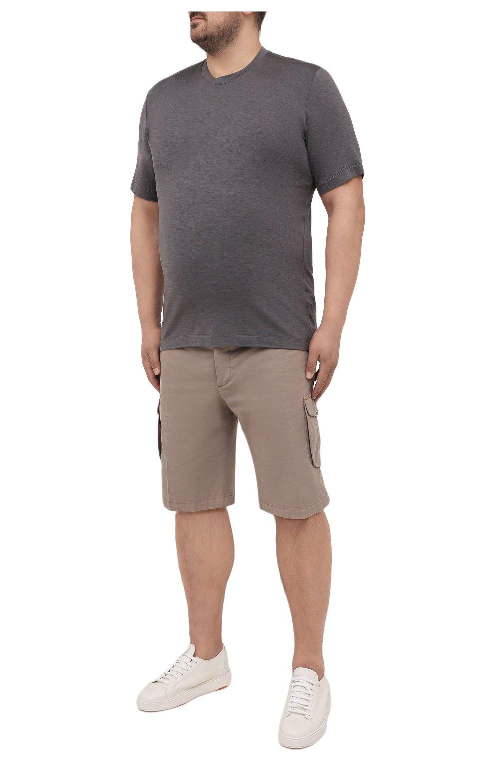 Мужская футболка из шелка и кашемира MARCO PESCAROLO темно-серого цвета, арт. JAMES/4365   Фото 2 (Big sizes: Big Sizes; Материал внешний: Шелк; Принт: Без принта; Рукава: Короткие; Длина (для топов): Стандартные)