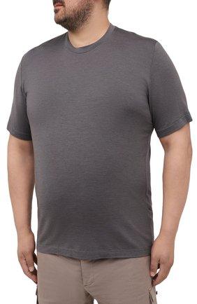Мужская футболка из шелка и кашемира MARCO PESCAROLO темно-серого цвета, арт. JAMES/4365   Фото 3 (Big sizes: Big Sizes; Материал внешний: Шелк; Принт: Без принта; Рукава: Короткие; Длина (для топов): Стандартные)