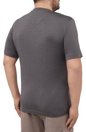 Мужская футболка из шелка и кашемира MARCO PESCAROLO темно-серого цвета, арт. JAMES/4365   Фото 4 (Big sizes: Big Sizes; Материал внешний: Шелк; Принт: Без принта; Рукава: Короткие; Длина (для топов): Стандартные)