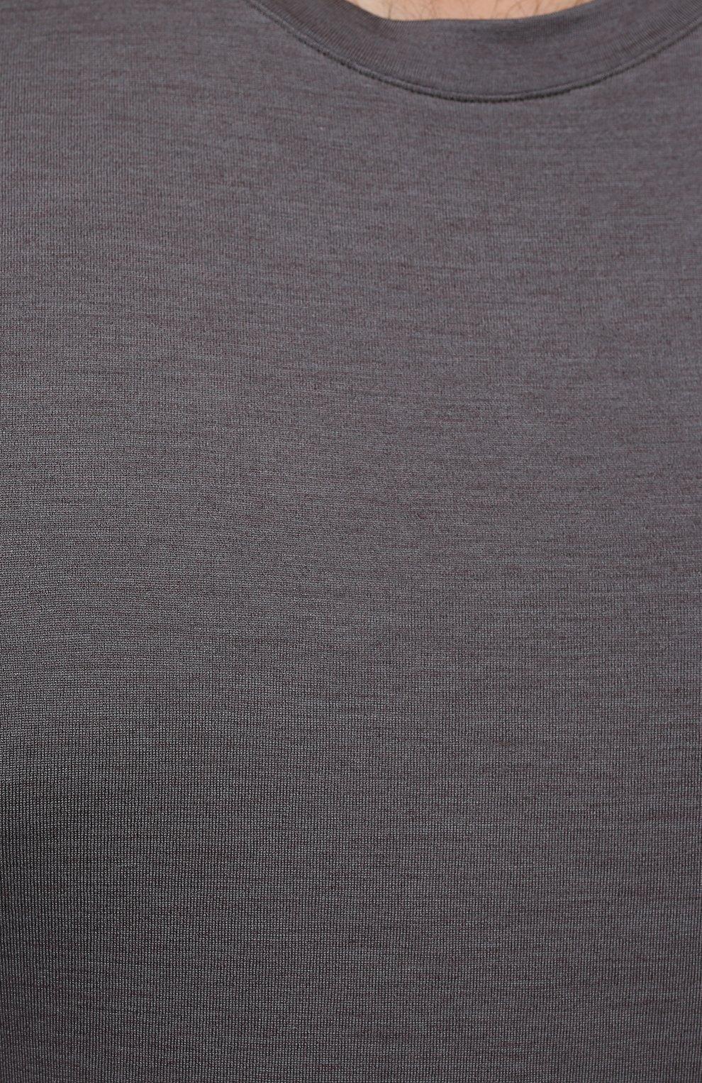 Мужская футболка из шелка и кашемира MARCO PESCAROLO темно-серого цвета, арт. JAMES/4365   Фото 5 (Big sizes: Big Sizes; Материал внешний: Шелк; Принт: Без принта; Рукава: Короткие; Длина (для топов): Стандартные)