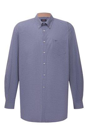 Мужская хлопковая рубашка PAUL&SHARK синего цвета, арт. 21413440/C00/48-50   Фото 1 (Длина (для топов): Удлиненные; Рубашки М: Classic Fit; Воротник: Button down; Стили: Кэжуэл; Материал внешний: Хлопок; Рукава: Длинные; Случай: Повседневный; Манжеты: На пуговицах; Принт: С принтом; Big sizes: Big Sizes)