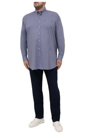 Мужская хлопковая рубашка PAUL&SHARK синего цвета, арт. 21413440/C00/48-50   Фото 2 (Длина (для топов): Удлиненные; Рубашки М: Classic Fit; Воротник: Button down; Стили: Кэжуэл; Материал внешний: Хлопок; Рукава: Длинные; Случай: Повседневный; Манжеты: На пуговицах; Принт: С принтом; Big sizes: Big Sizes)