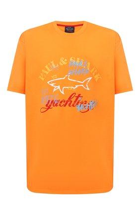Мужская хлопковая футболка PAUL&SHARK оранжевого цвета, арт. 21411085/C00/3XL-6XL | Фото 1