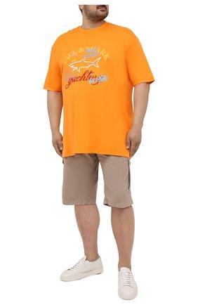 Мужская хлопковая футболка PAUL&SHARK оранжевого цвета, арт. 21411085/C00/3XL-6XL | Фото 2