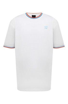 Мужская хлопковая футболка PAUL&SHARK белого цвета, арт. 21411004/C00/3XL-6XL | Фото 1 (Материал внешний: Хлопок; Принт: Без принта; Рукава: Короткие; Длина (для топов): Удлиненные)