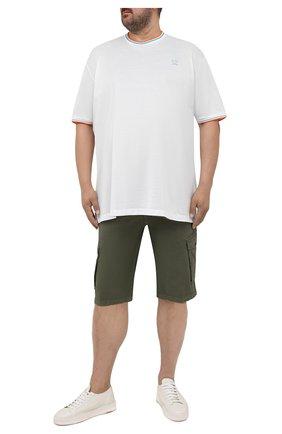 Мужская хлопковая футболка PAUL&SHARK белого цвета, арт. 21411004/C00/3XL-6XL | Фото 2 (Материал внешний: Хлопок; Принт: Без принта; Рукава: Короткие; Длина (для топов): Удлиненные)