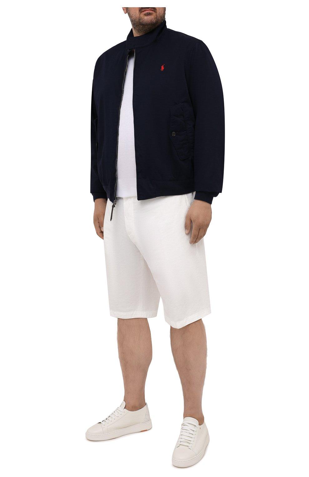Мужской хлопковый бомбер POLO RALPH LAUREN темно-синего цвета, арт. 711776849/PRL BS   Фото 2 (Кросс-КТ: Куртка; Big sizes: Big Sizes; Рукава: Длинные; Принт: Без принта; Материал внешний: Хлопок; Длина (верхняя одежда): Короткие; Материал подклада: Хлопок; Стили: Кэжуэл)