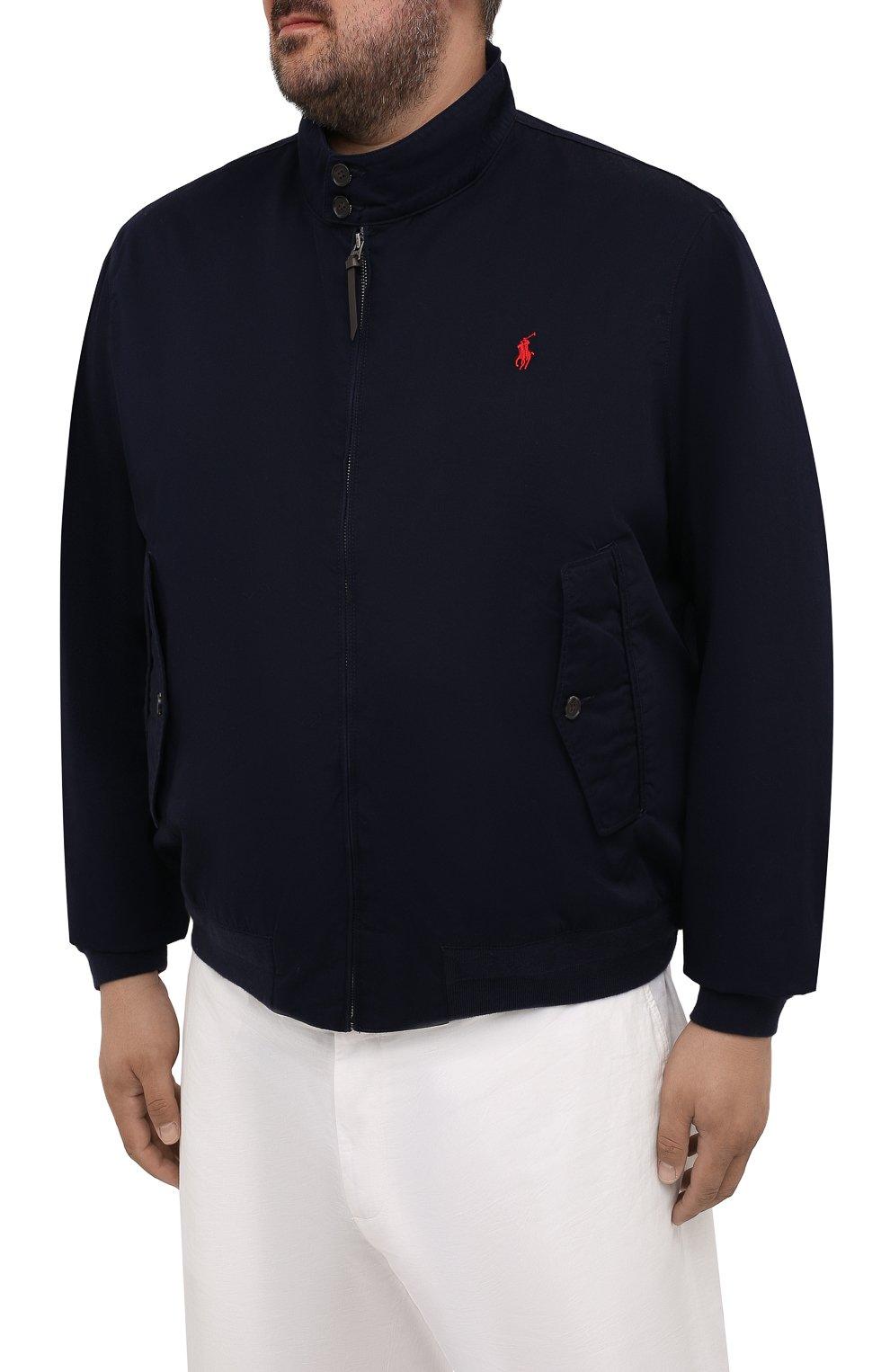 Мужской хлопковый бомбер POLO RALPH LAUREN темно-синего цвета, арт. 711776849/PRL BS   Фото 3 (Кросс-КТ: Куртка; Big sizes: Big Sizes; Рукава: Длинные; Принт: Без принта; Материал внешний: Хлопок; Длина (верхняя одежда): Короткие; Материал подклада: Хлопок; Стили: Кэжуэл)