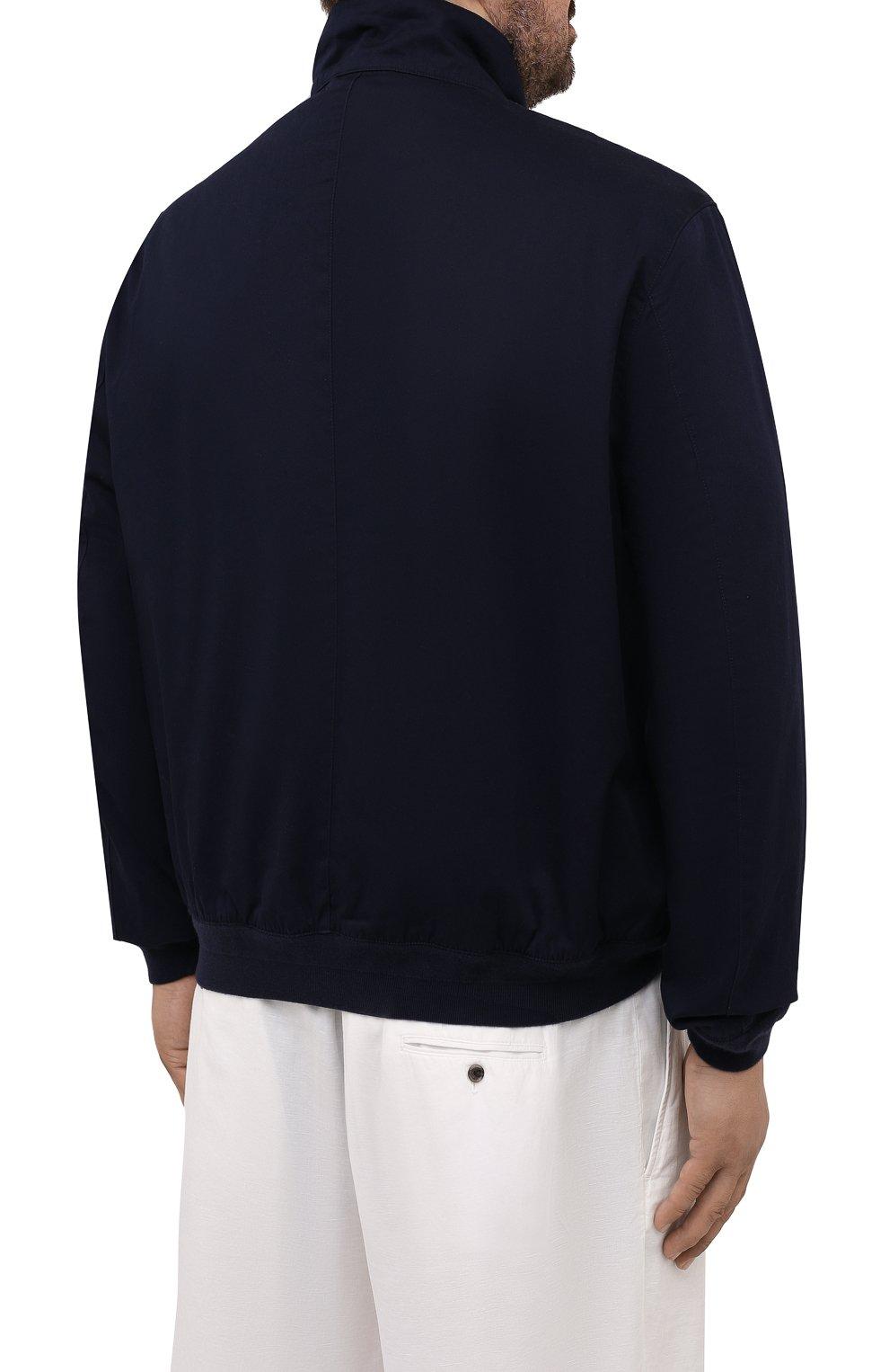 Мужской хлопковый бомбер POLO RALPH LAUREN темно-синего цвета, арт. 711776849/PRL BS   Фото 4 (Кросс-КТ: Куртка; Big sizes: Big Sizes; Рукава: Длинные; Принт: Без принта; Материал внешний: Хлопок; Длина (верхняя одежда): Короткие; Материал подклада: Хлопок; Стили: Кэжуэл)