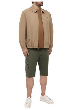 Мужской хлопковый бомбер POLO RALPH LAUREN бежевого цвета, арт. 711704084/PRL BS | Фото 2 (Кросс-КТ: Куртка; Big sizes: Big Sizes; Рукава: Длинные; Принт: Без принта; Материал внешний: Хлопок; Длина (верхняя одежда): Короткие; Стили: Кэжуэл)