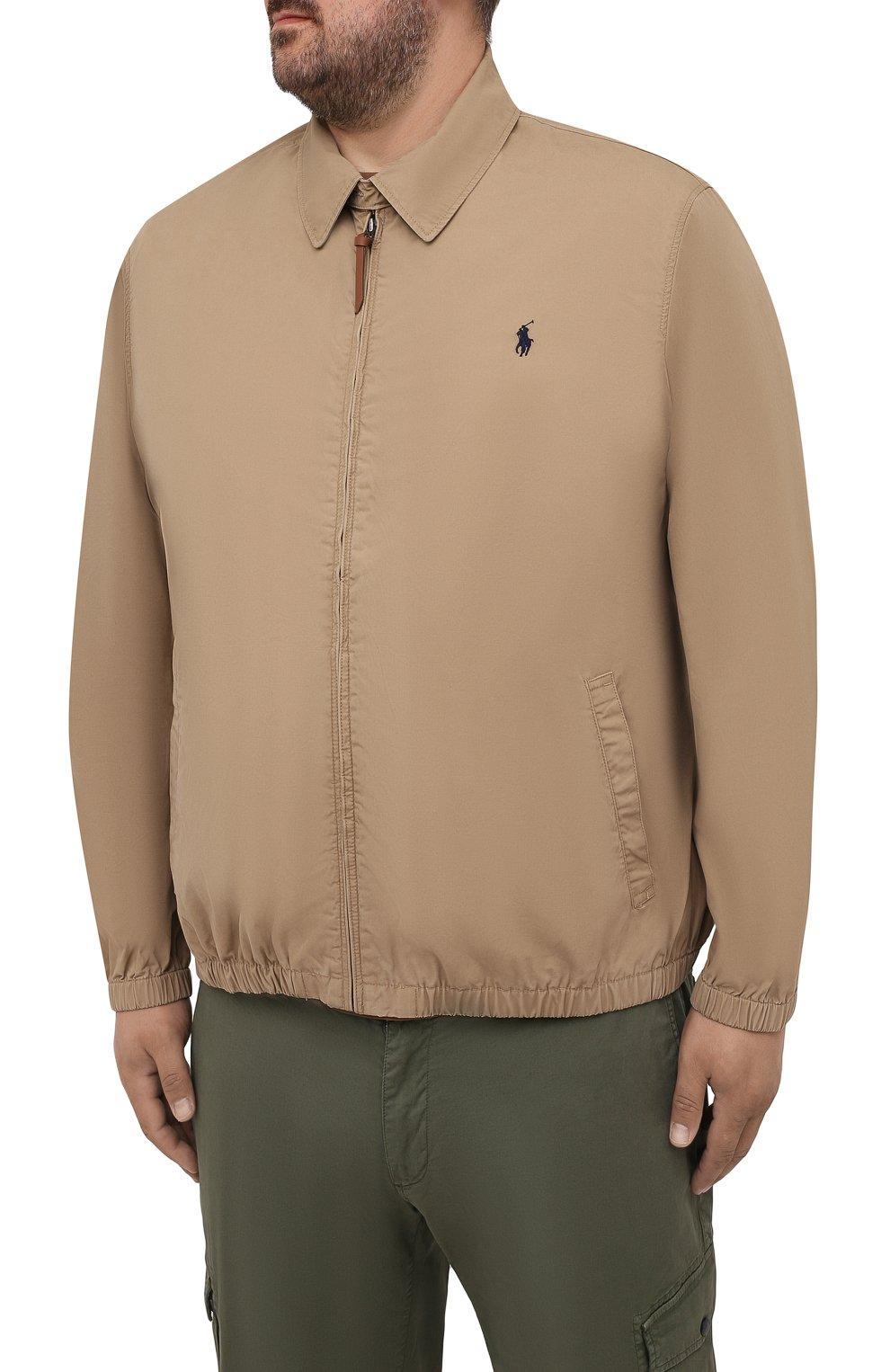 Мужской хлопковый бомбер POLO RALPH LAUREN бежевого цвета, арт. 711704084/PRL BS | Фото 3 (Кросс-КТ: Куртка; Big sizes: Big Sizes; Рукава: Длинные; Принт: Без принта; Материал внешний: Хлопок; Длина (верхняя одежда): Короткие; Стили: Кэжуэл)