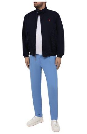 Мужские хлопковые брюки EDUARD DRESSLER голубого цвета, арт. 150138/51W09 | Фото 2
