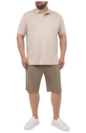 Мужское хлопковое поло PAUL&SHARK светло-бежевого цвета, арт. 21411288/C00/3XL-6XL | Фото 2