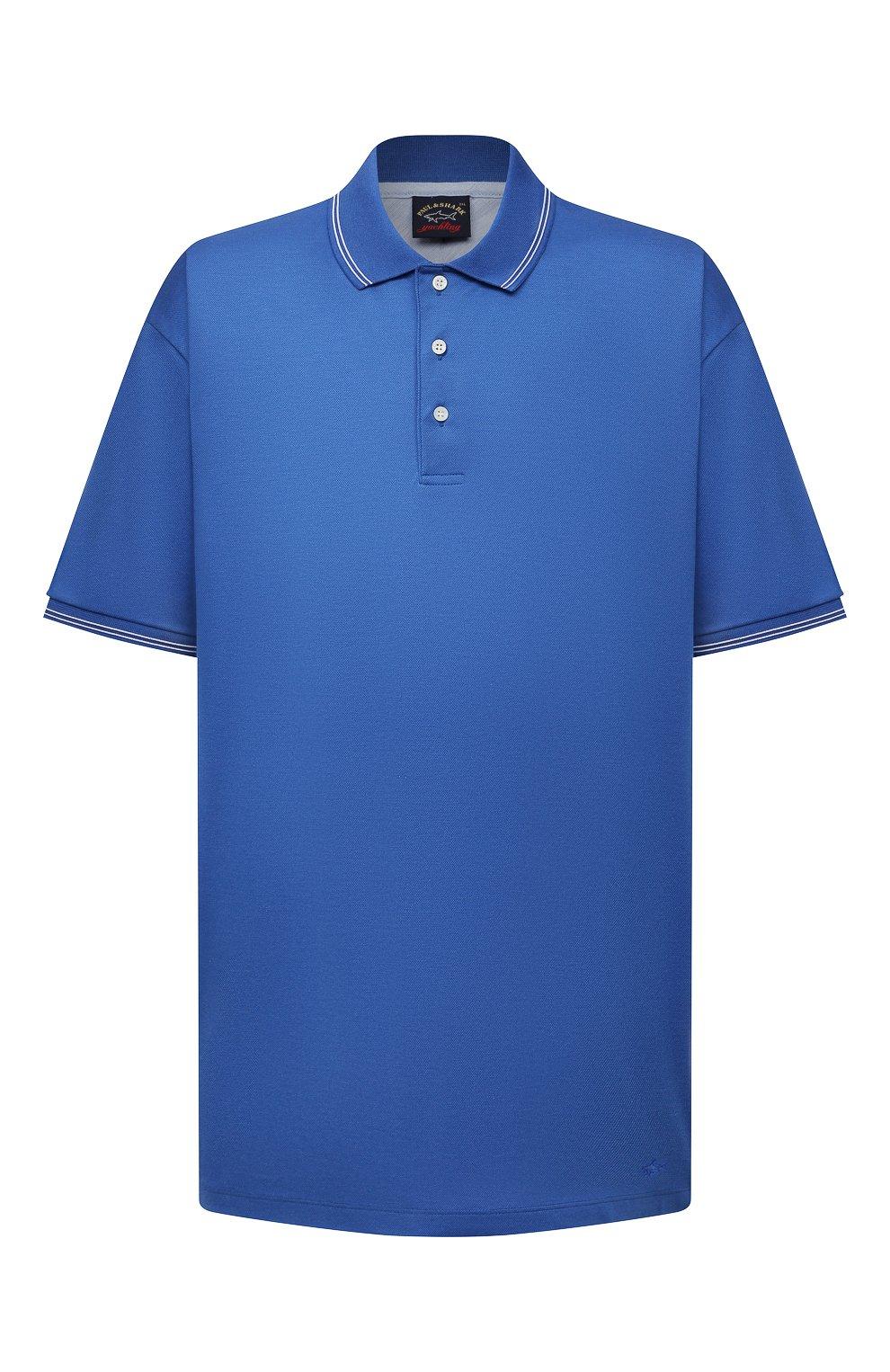 Мужское хлопковое поло PAUL&SHARK синего цвета, арт. 21411331/FEN/3XL-6XL   Фото 1