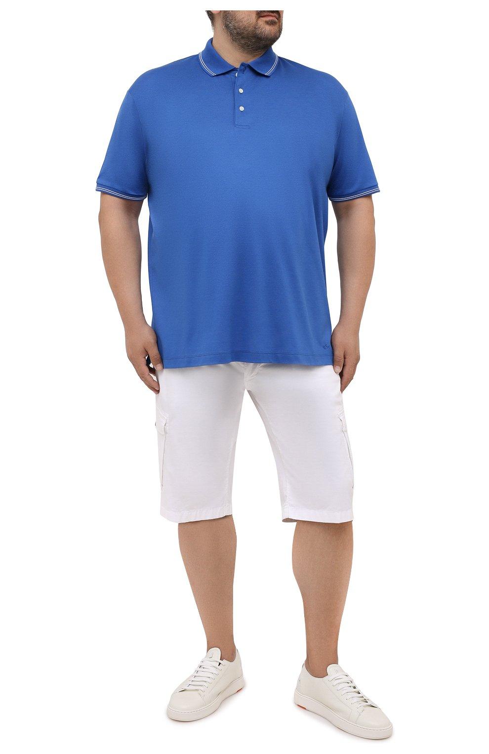 Мужское хлопковое поло PAUL&SHARK синего цвета, арт. 21411331/FEN/3XL-6XL   Фото 2