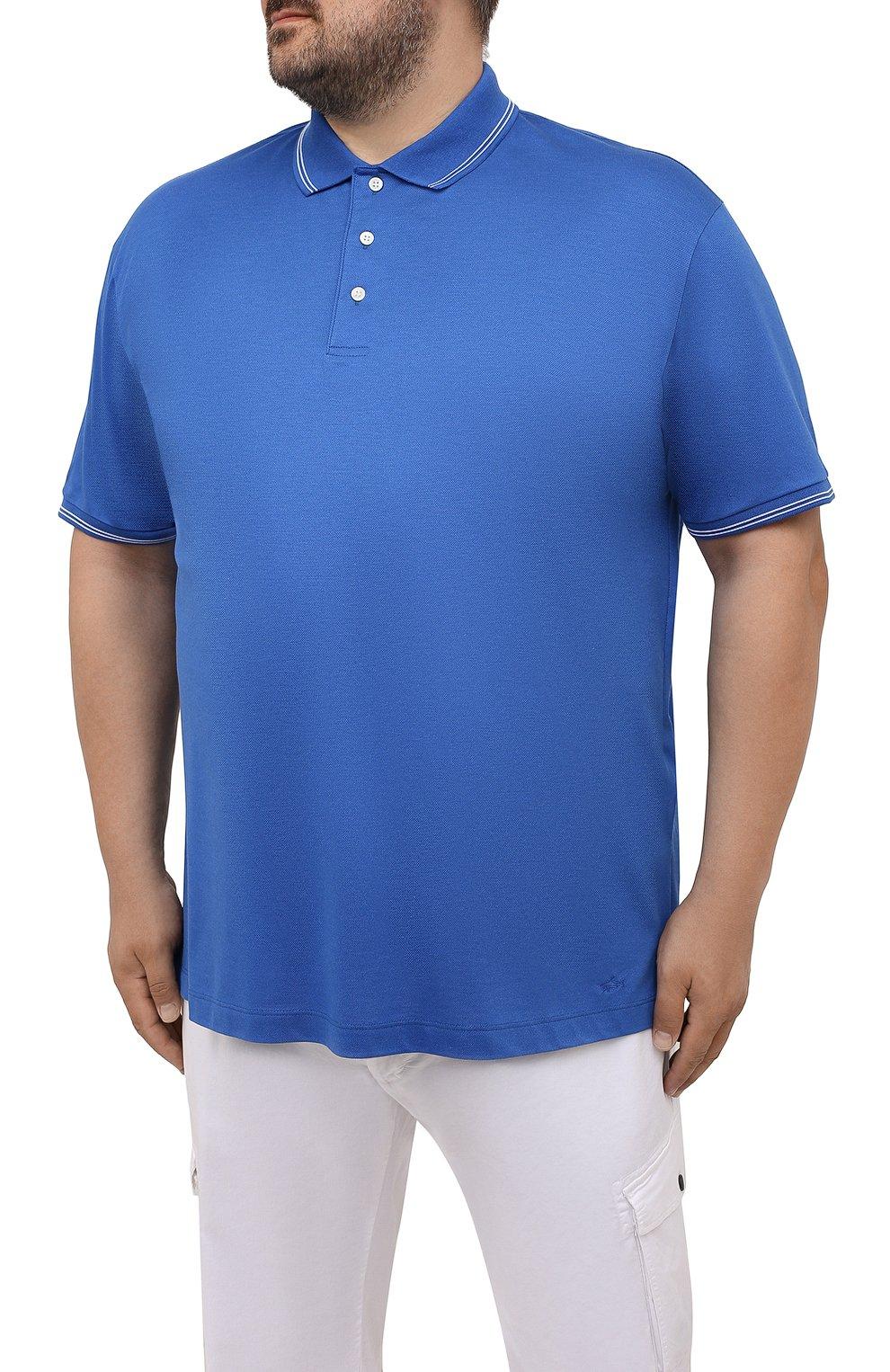 Мужское хлопковое поло PAUL&SHARK синего цвета, арт. 21411331/FEN/3XL-6XL   Фото 3