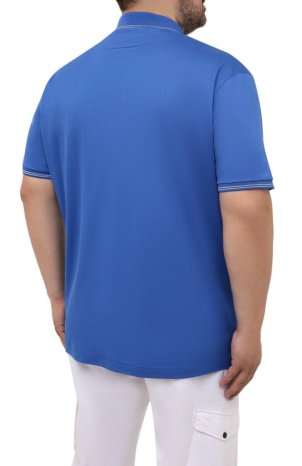 Мужское хлопковое поло PAUL&SHARK синего цвета, арт. 21411331/FEN/3XL-6XL   Фото 4