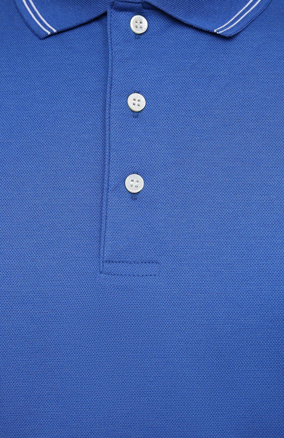 Мужское хлопковое поло PAUL&SHARK синего цвета, арт. 21411331/FEN/3XL-6XL   Фото 5