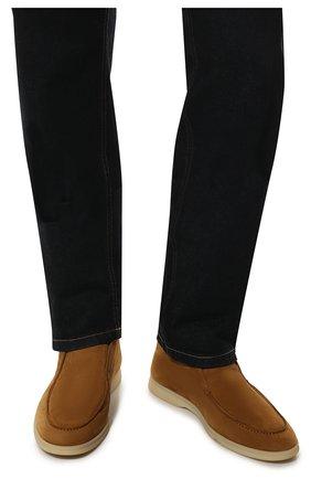 Мужские замшевые ботинки open walk LORO PIANA светло-коричневого цвета, арт. FAB4368 | Фото 3 (Мужское Кросс-КТ: Ботинки-обувь; Материал внутренний: Натуральная кожа; Подошва: Плоская; Материал внешний: Замша)