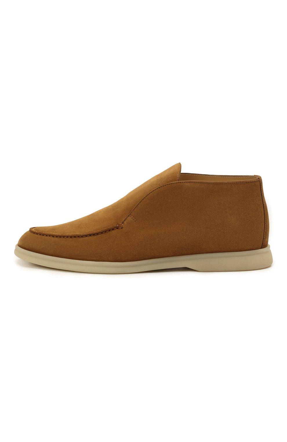 Мужские замшевые ботинки open walk LORO PIANA светло-коричневого цвета, арт. FAB4368 | Фото 4 (Мужское Кросс-КТ: Ботинки-обувь; Материал внутренний: Натуральная кожа; Подошва: Плоская; Материал внешний: Замша)