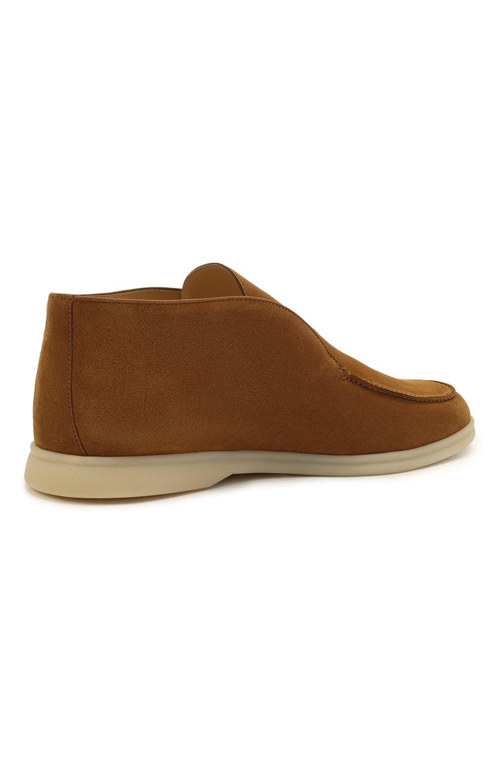 Мужские замшевые ботинки open walk LORO PIANA светло-коричневого цвета, арт. FAB4368 | Фото 5 (Мужское Кросс-КТ: Ботинки-обувь; Материал внутренний: Натуральная кожа; Подошва: Плоская; Материал внешний: Замша)