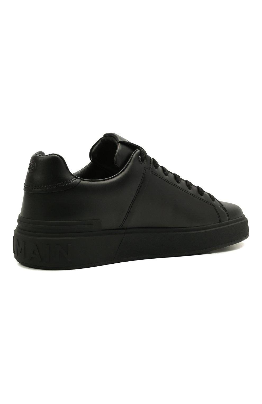 Мужские кожаные кеды b-court BALMAIN черного цвета, арт. WM1VI244/LSMM   Фото 5 (Материал внутренний: Натуральная кожа; Подошва: Массивная)