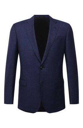 Мужской пиджак из шерсти и кашемира GIORGIO ARMANI синего цвета, арт. 8WGGG00K/T02W8 | Фото 1 (1-2-бортные: Однобортные; Пиджаки М: Прямой; Материал подклада: Вискоза; Длина (для топов): Стандартные; Материал внешний: Шерсть; Рукава: Длинные; Случай: Коктейльный; Стили: Классический)
