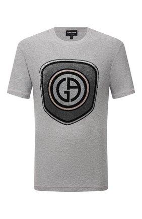 Мужская хлопковая футболка GIORGIO ARMANI серого цвета, арт. 6KSM71/SJSVZ | Фото 1
