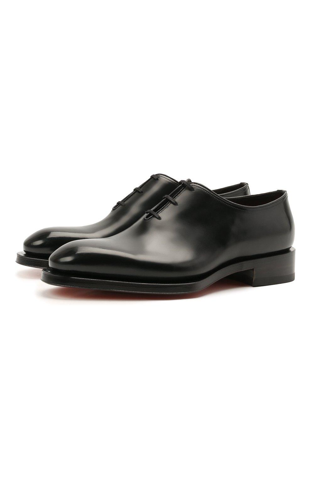 Мужские кожаные оксфорды SANTONI черного цвета, арт. MCCG16229MD3HVVDN01   Фото 1 (Материал внутренний: Натуральная кожа; Стили: Классический)