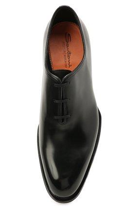 Мужские кожаные оксфорды SANTONI черного цвета, арт. MCCG16229MD3HVVDN01   Фото 5 (Материал внутренний: Натуральная кожа; Стили: Классический)